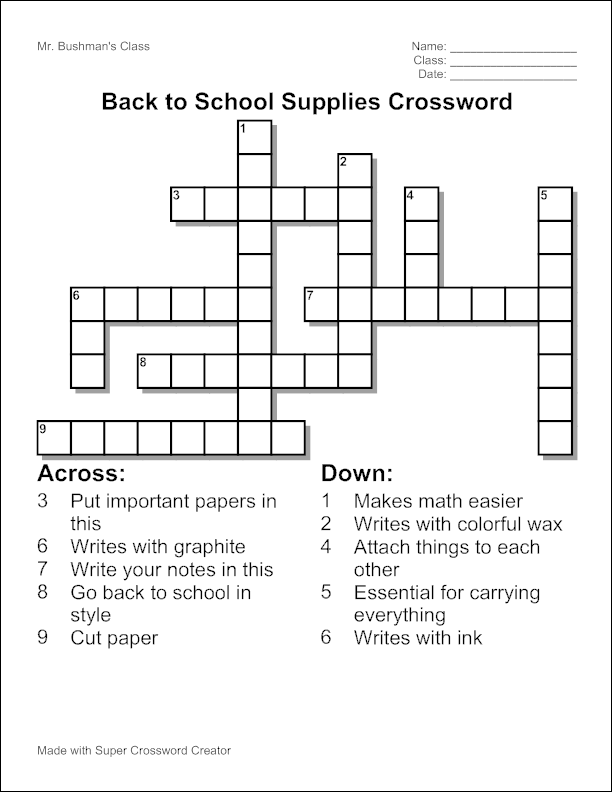 Sample-School-Crossword