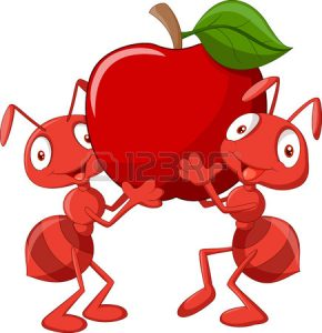 33367600-dos-hormigas-de-dibujos-animados-que-sostiene-la-manzana-roja
