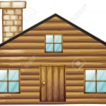 Wooden house with chimney illustration